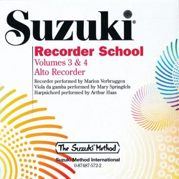 Suzuki Recorder School (Alto Recorder) CD, Volume 3 & 4 (AL-00-0572)