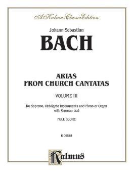 Arias from Church Cantatas, Volume III (5 Sacred) (For Soprano, Obblig (AL-00-K06818)