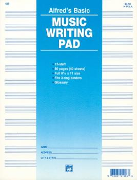 "12 Stave Music Writing Pad (8 1/2"" x 11"") (AL-00-182)"